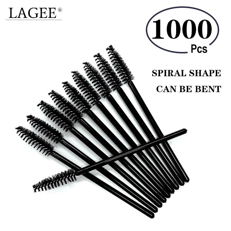 Лаги 1000 шт Черная тушь для ресниц Макияж щеточки одноразовые тушь палочка для ресниц кисти гибкие могут быть изогнуты