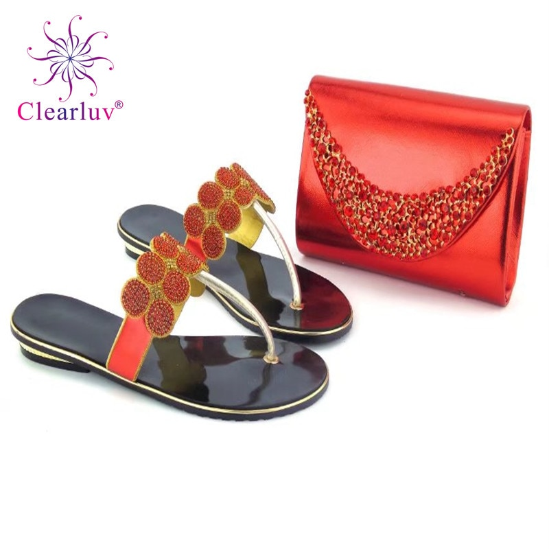 Clearluv 1402016 נעליים איטלקיות תיק סט מעוטר ריינסטון נעלי חתונה אפריקאית זהב שקית צבע