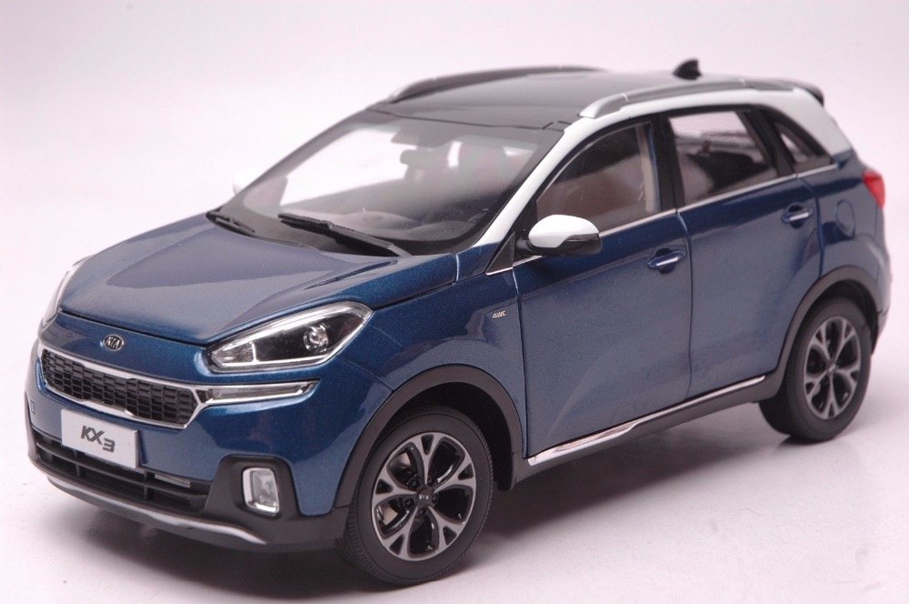 Modelo Diecast 118 para Kia KX3 2016, SUV azul, juguete de aleación, colección de coches en miniatura, regalos