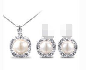Miss charm Jew.440 Модный женский жемчужный кулон ожерелье серьги ювелирный набор (A0516)-ювелирные изделия для невесты Бесплатная доставка