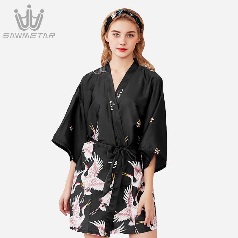 Women Silk Satin Robe Summer Fashion Bath Robe Women Wedding Bride Bridesmaid Robe Print Kimono Robe Sexy Short Bathrobe
