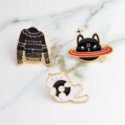 Presentes bonitos do gato da joia do broche dos pinos dos desenhos animados do gato do espaço preto do gato da camisola preta do cd
