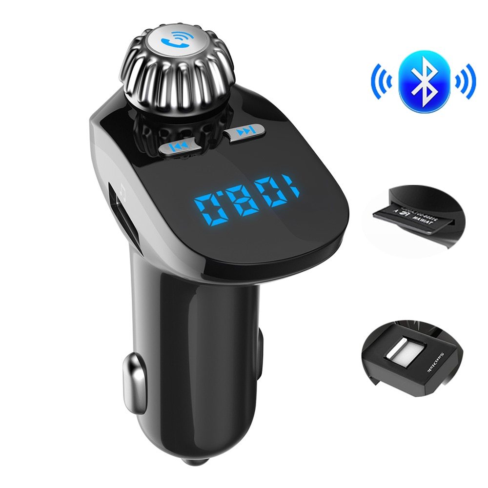 FM Modulator Car MP3 Player A2DP Music Bluetooth 4.2 FM Transmitter Handsfree Car Kit 5V 3.1A Dual USB Support TF Card U Disk