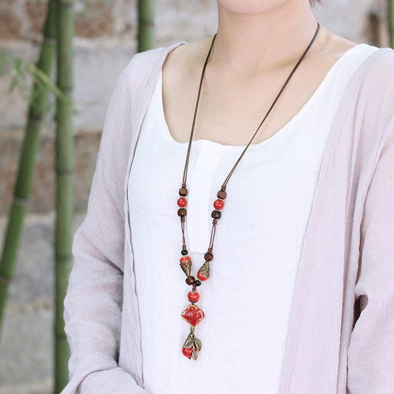 2018 fashion long chain necklace Clavicular chain colored stone flower Summer Bohemia Handmade ceramic choker women's sale jewel