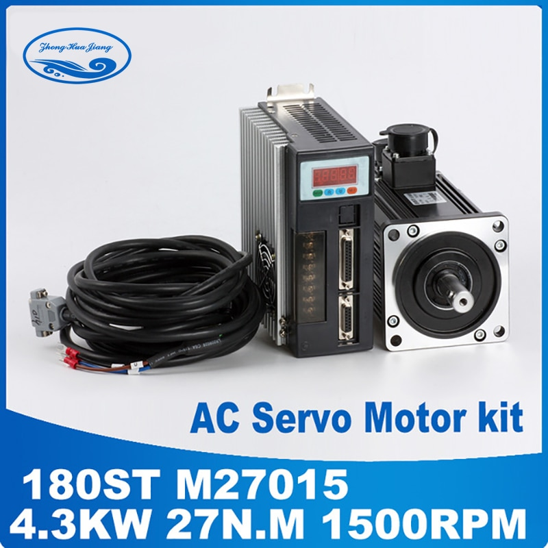 Servomotor cnc 4,3 kW 380 V, kits 180ST M27015 servomotor 27N.M, servomotor driver