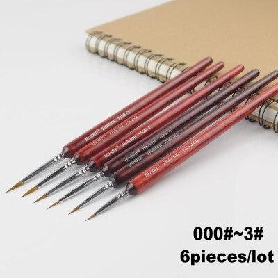 6 peças/lote 000 #3 3 # modelo diy caneta apontado pintura pincel esboço caneta combo para gundam modelo de construção militar modelo ferramenta