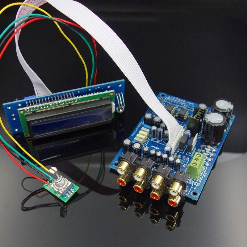 M62446 6 canais controle de volume pré-amplificador de controle remoto display lcd 5.1 volume áudio preamp ne5532 op amp para amplificador