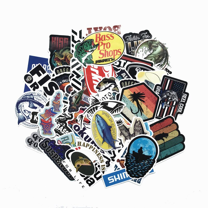 TD ZW 50 stks/partij Gaan Vissen Stickers Voor Snowboard Laptop Bagage Auto Koelkast DIY Styling Vinyl Home Decor Stickers Pegatina