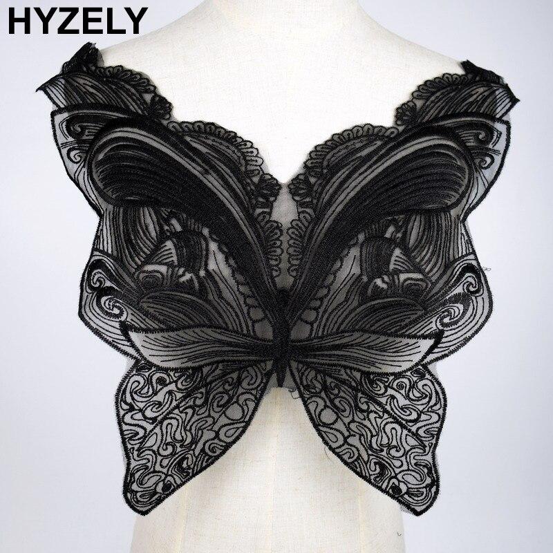 Черная бабочка, кружевной воротник, вышивка, отделка декольте, аппликация, украшения, винтажная отделка, аксессуары для свадебного платья, BW138