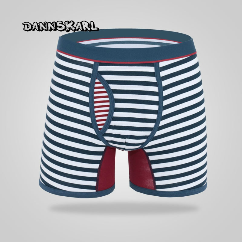 Calzoncillos a rayas para hombre a la moda de M-6XL, Pantalones rectos sexys de algodón, ropa interior de diseño de Apertura frontal