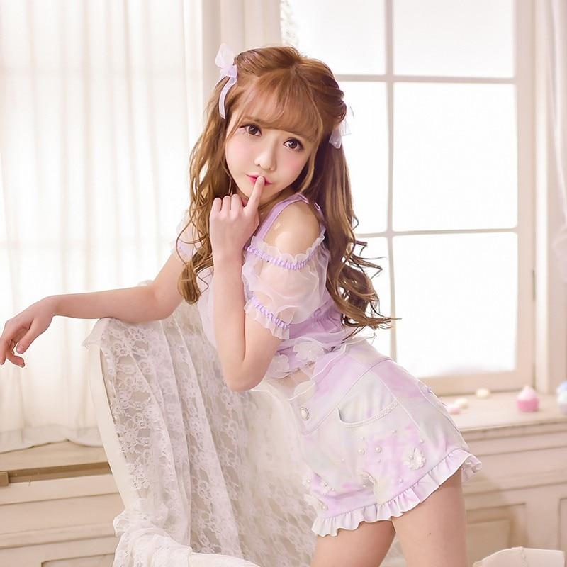 Princess sweet lolita blouse Candy rain exclusive design summer new  sweet two piece suit blouse denim shorts suit C16AB6061