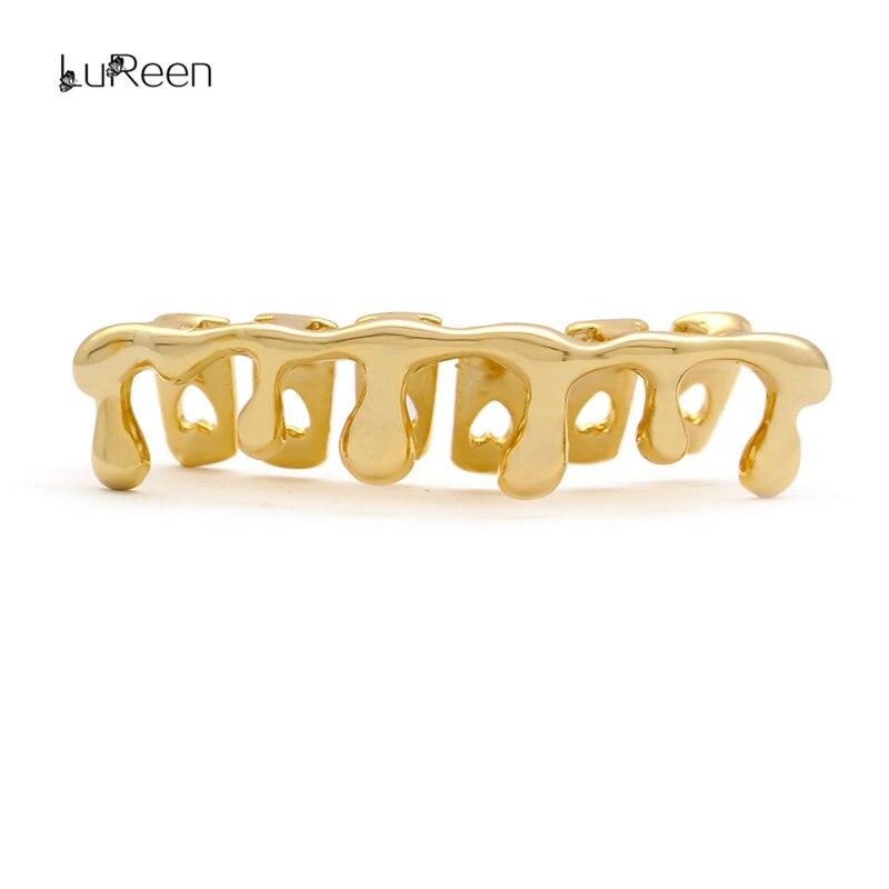 LuReen dientes de oro parrillas los dientes de forma de parrillas Dental superior inferior Grillz Cosplay diente tapas raperos Hip Hop joyería fiesta