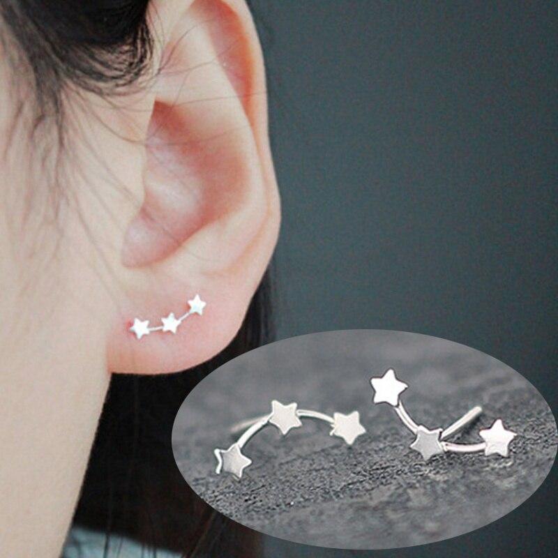 S925 estrelas triplas minúsculo estrela brinco 3 estrela alpinista brincos varrer para cima orelha alpinista manguito envoltório rastreador para mulher