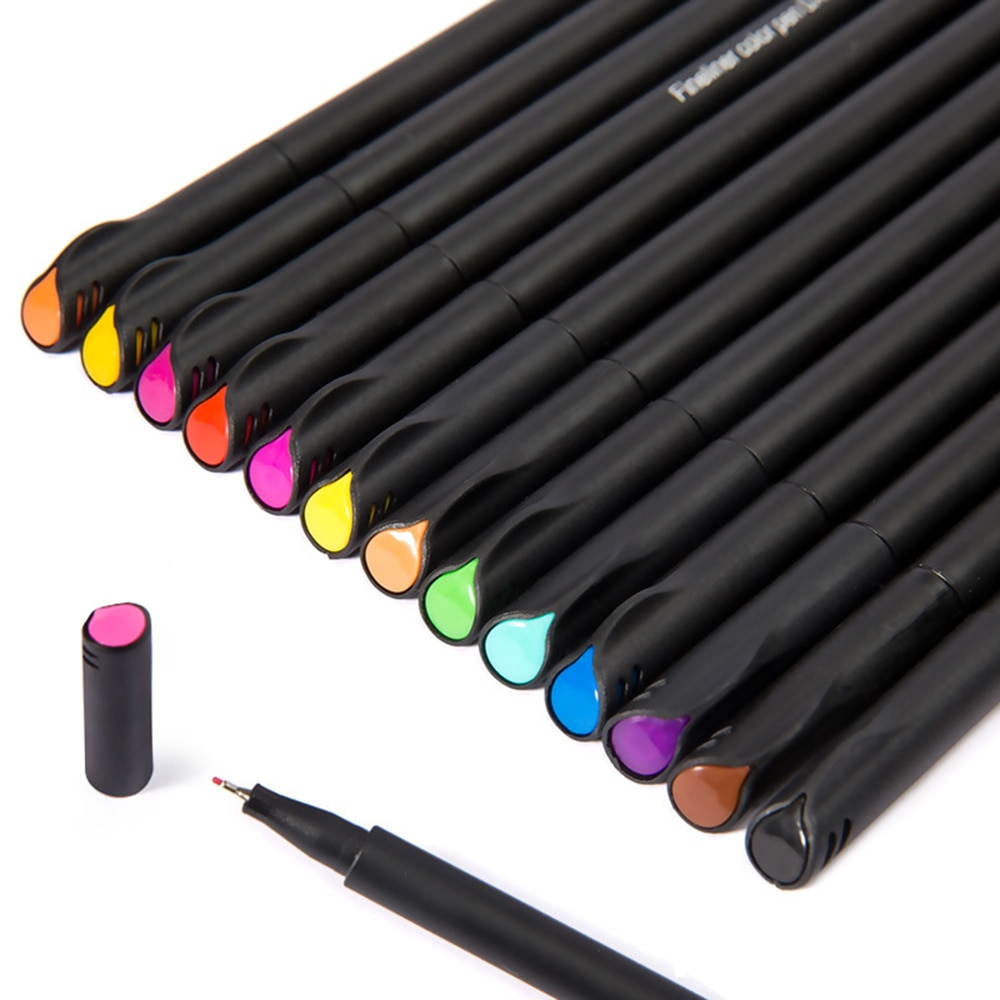 Mini 12/24 Uds Fineliner cepillo pluma pincel de micras Graffiti arte marcador bolígrafos de colores para dibujar de caligrafía Finecolour lápiz papelería