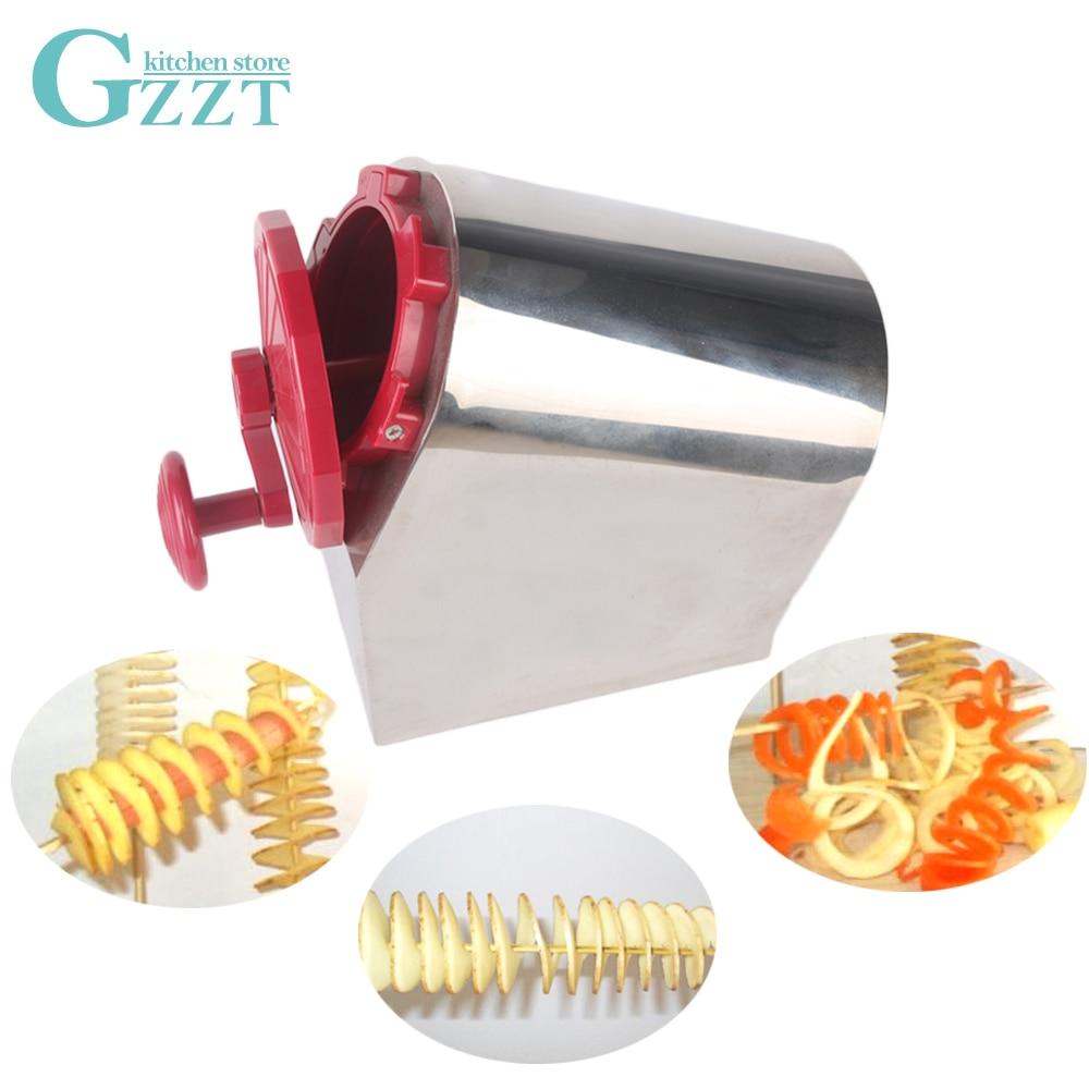 Gzzt torcido moedor de batata espiral cortador vegetal manual batata torre máquina 3 em 1 lâmina aço inoxidável máquina corte