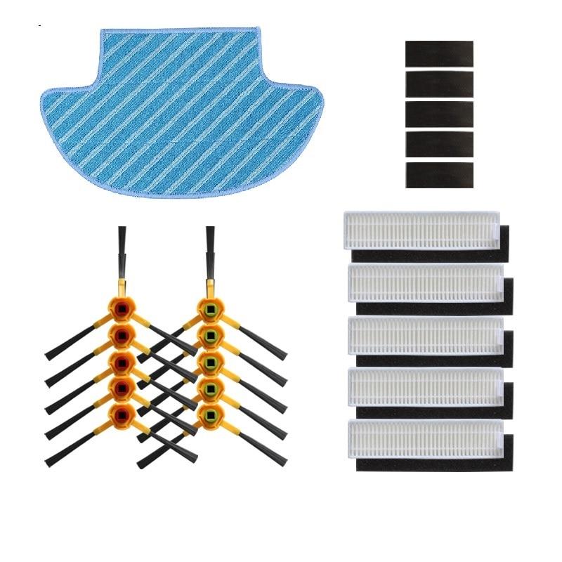 Filtro Cepillo Lateral hepa, filtros de esponja, paño de mopa Magic paste para ecovacs deebot Slim DA60 D36A SLIM, pieza de 2 Aspiradora Robótica