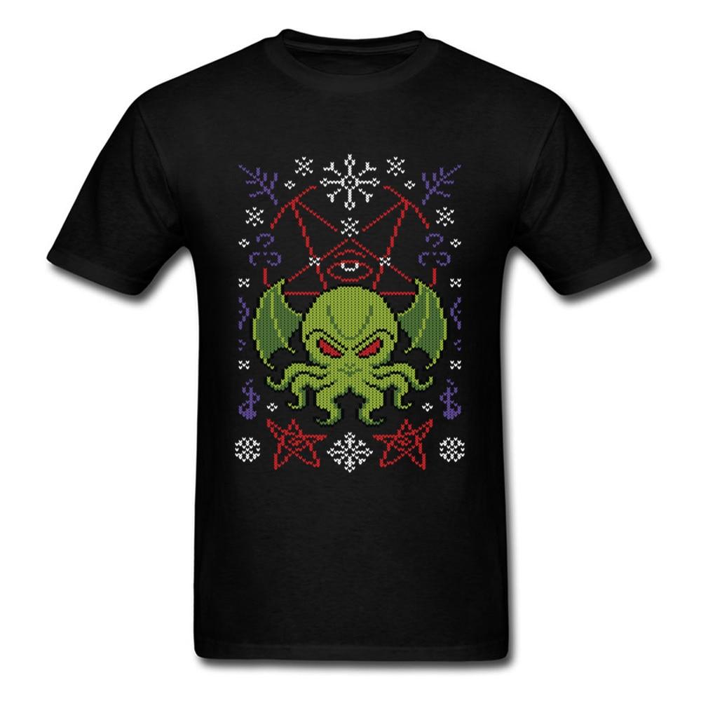 Feliz cthulhu tshirt dos homens presente de natal t camisa bonito monstro roupas camisola padrão topos polvo t camisa preta de algodão