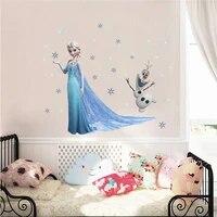 Autocollants muraux de flocons de neige de la reine des neiges Olaf pour chambre denfants  autocollants de dessin anime  pour la maison  affiche de film dart Mural