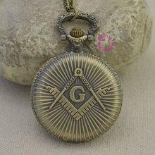 Mode gros quartz maçons franc-maçonnerie montre de poche femme homme vintage antique pendentif G fob montres antique classique bronze