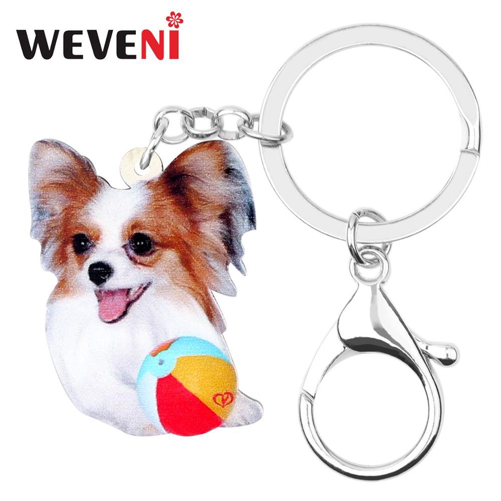 WEVENI Design Original acrylique Papillon chien porte-clés mode bijoux pour animaux de compagnie pour femmes filles sac voiture breloques Lots pendentif