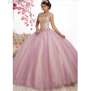Pink Tulle Long Prom Dresses Ball Gowns New Design Beading Top Sweet 16 Dress Evening Dress Quinceanera Vestido de festa