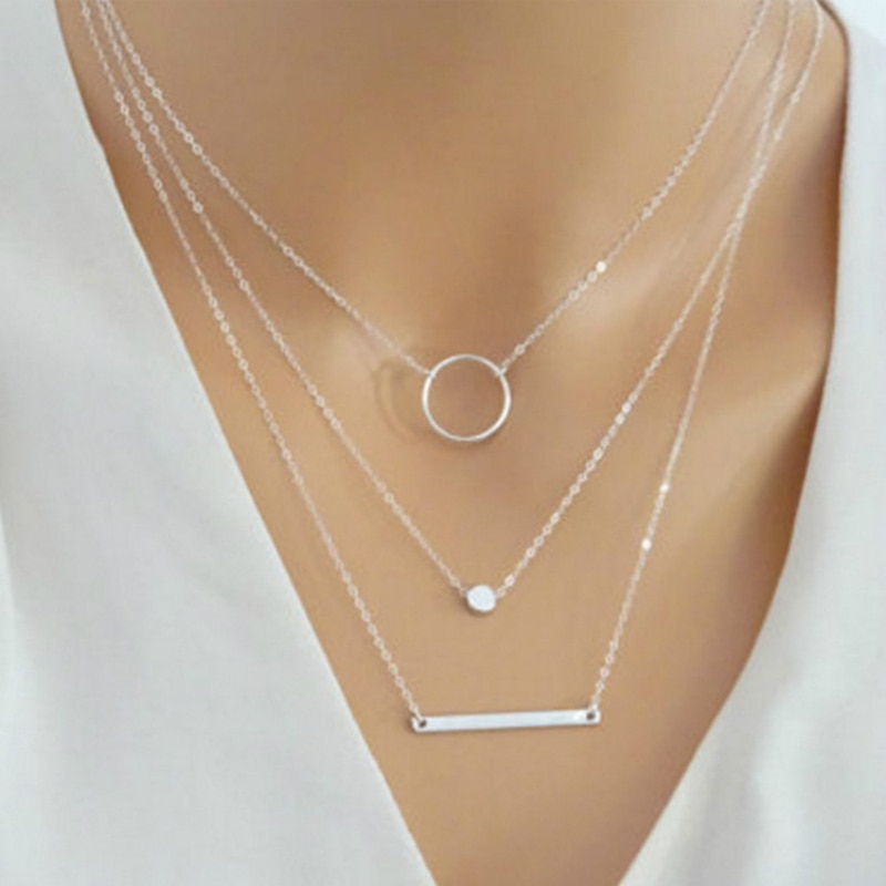 2019 New Choker Fashion Wild Aperture Metal Rods Necklace Gold Silver Layered Necklace For Women Cha