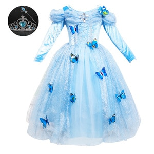 Girls Princess Birthday Dresses for Toddlers 3-12 Years Old Light Blue Long Sleeved Girls Fancy Dress Carnaval Costumes for Kids