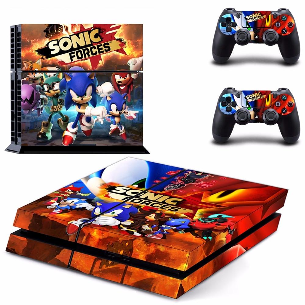 Pegatinas de piel de las fuerzas Sonic PS4 para consola y controlador Sony PlayStation 4, pegatinas de vinilo