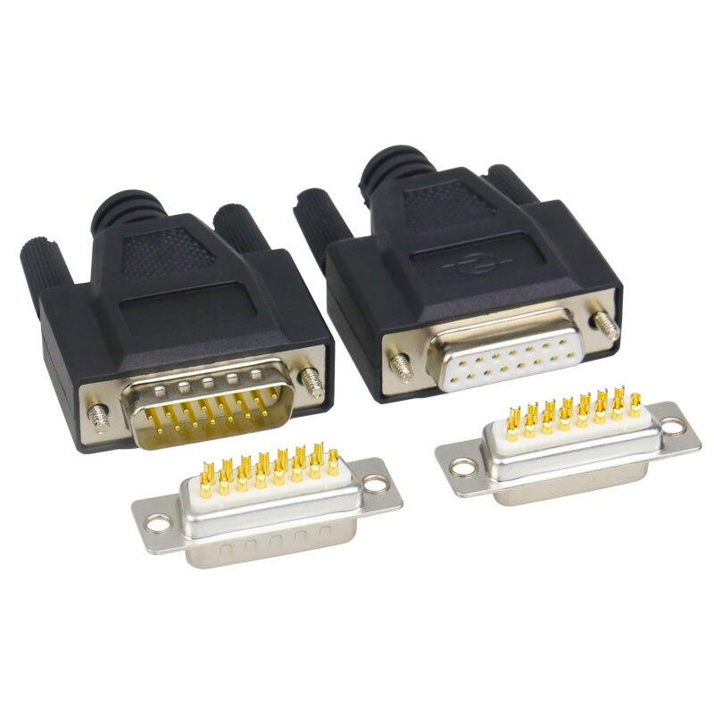 Conector de puerto serie RS232, conector adaptador macho y hembra DB15 de 15 Pines, Conector de soldadura DIY de 2 filas