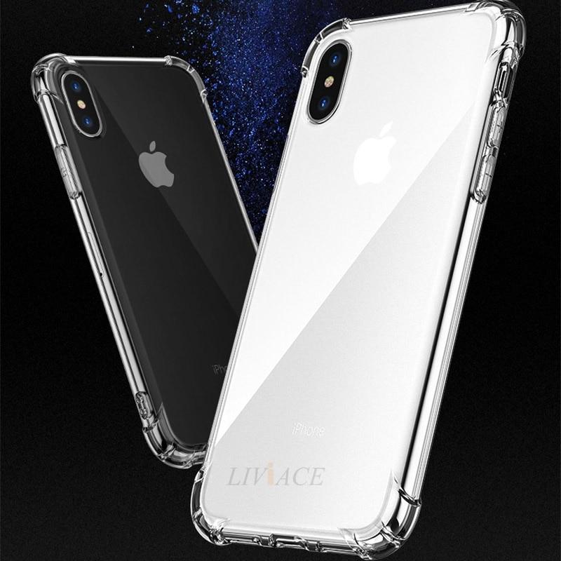 A prueba de golpes a prueba de aire armadura del teléfono claro caso para iphone xr x xs x max 5 5S 5e se 6 6s 7 8 plus 10 suave transparente TPU carcasa funda