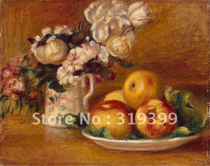 Lienzo de lino pintura al óleo, manzanas y flores por pierre auguste renoir, envío gratis por DHL, 100% hecho a mano, calidad de museo