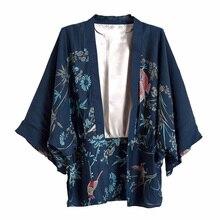 Cheshanf Harajuku Sommer Frauen Japanischen Kimono Phoenix Gedruckt Fledermaus Ärmel Lose Strickjacke Sonnenschutz Bluse