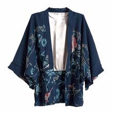 Cheshanf Harajuku Zomer Vrouwen Japanse Kimono Phoenix Gedrukt Vleermuis Mouw Losse Vest Zon Blouse