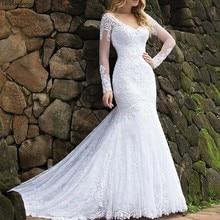Vestido de noiva V-Neck Mermaid Lace Wedding Dress Long Sleeves Bride Dress with Train 2019 Trouwjurk