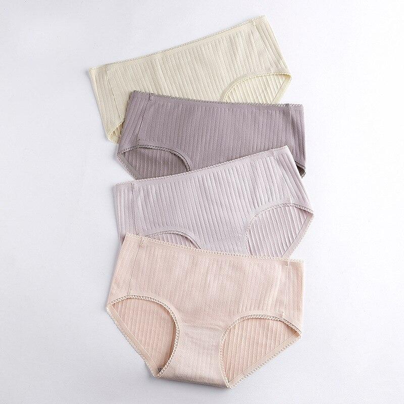 Bragas de algodón para mujer, bragas sin costura, ropa interior saludable, calzoncillos sólidos a media cintura íntimos femeninos XXL 2 unids/lote # D