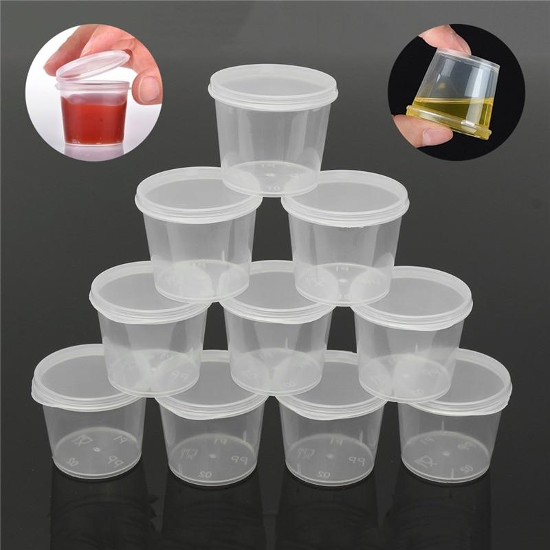 30 pçs/pçs/set 25ml plástico descartável takeaway molho copo recipientes caixa de alimentos com tampa articulada pigmento caixa de pintura paleta reutilizável