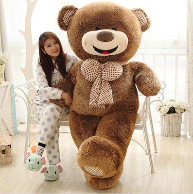 Peluche enorme 180cm sonrisa osito de peluche con pajarita, abrazo marrón cojín de muñeco de oso regalo 0421