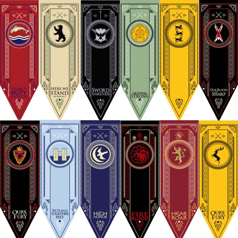 Game Of Thrones Families Flag Home Decor Wolf Dragon Polyester Thrones Banner Flag Baratheon & Martell & Bolton Flag 48*150cm