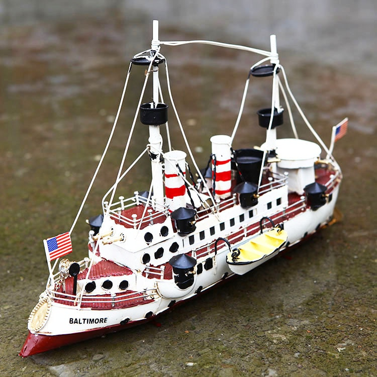 Estatueta do Barco Artesanato da Marinha Modelo de Navio Escritório em Casa Decoração do Desktop Estanho Ferro Ornamento Antigo Americana Metal Presente