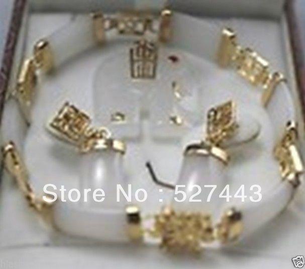 Venta al por mayor envío gratis> Conjunto de joyería original pendiente de elefante con piedra blanca