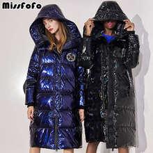 MissFoFo 2019 New Fashion Women Duck Down Jacket Shiny Bule Black Size XXL Waterproof Outwear Hood High Quality Metallic Puffer