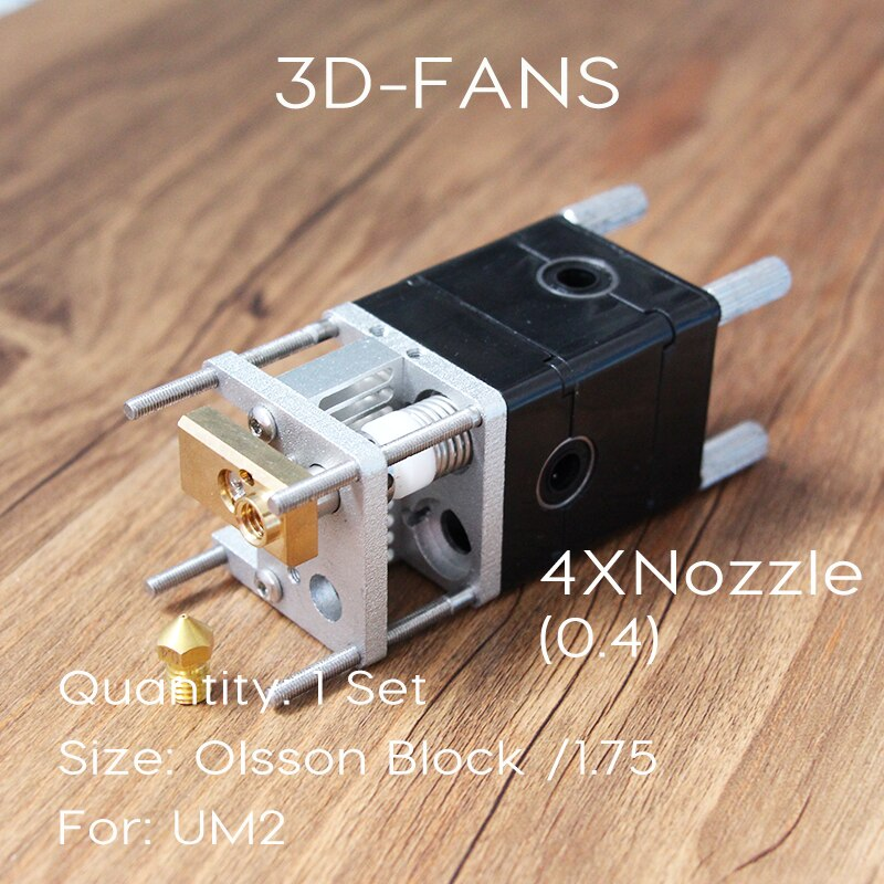 Ultimaker 2 Doble extrusora Olsson Kit de boquillas 0,4mm HotEnd dual Heads para filamento de 1,75mm UM2 Ultimaker 2