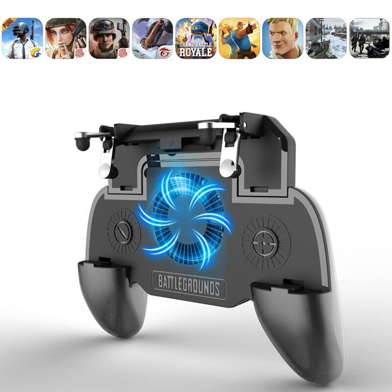 Pubg Controller Gamepad Pubg Mobile Trigger L1R1 Shooter Joystick Game Pad Phone Holder Cooler Fan with 2000 mAh Power Bank
