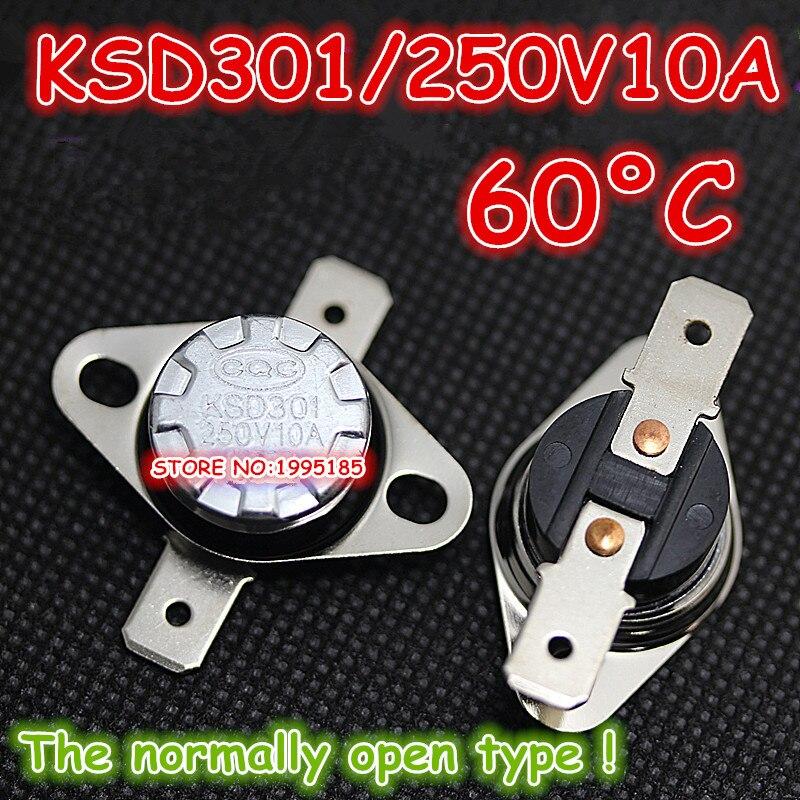 10 unids/lote KSD301 250V10A 60 Grados Celsius 60 C Normal abierto (N O) termostato de interruptor controlado por temperatura