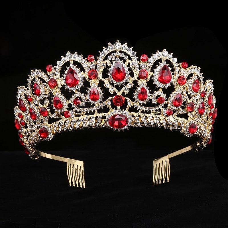 Tiaras de cristal, corona de reina de diamantes de imitación, accesorios para el cabello de boda, diadema de lujo grande con peines, joyería para el cabello