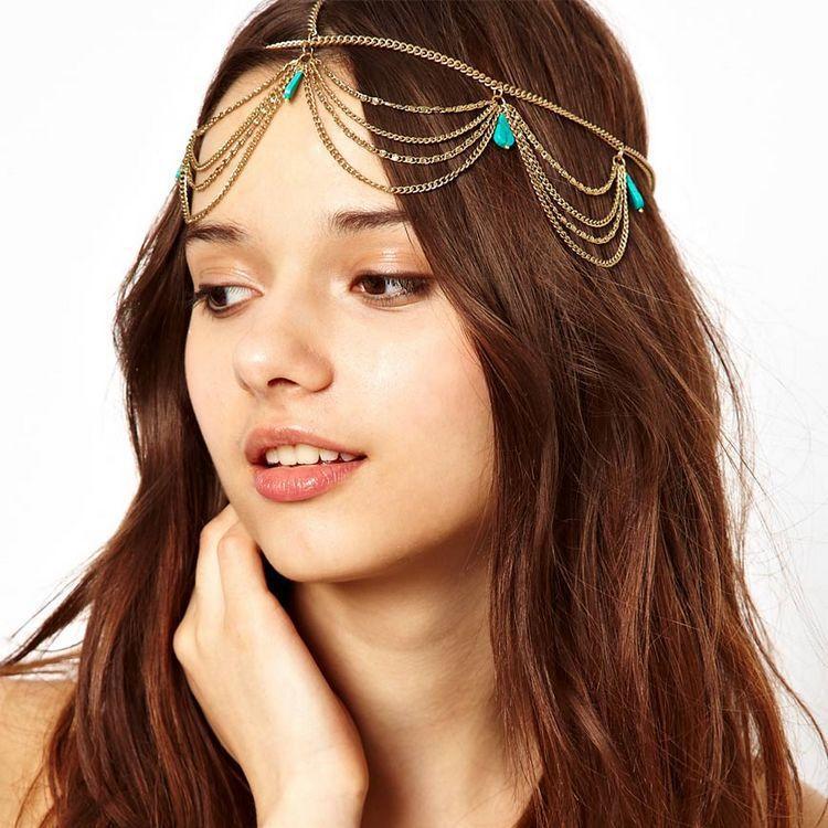 Excelente estilo azul grânulo borla cabeça feminina corrente jóias 2020 boêmio praia bandana festa headpiece faixa de cabelo