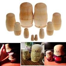 5pcs/set Matryoshka Toy Unpainted DIY Blank Wooden Embryos Russian Nesting Dolls