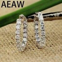 aeaw big size solid 14k white gold moissanite hoop earrings for women 2 5ctw 3mm f color moissanite diamond earrings