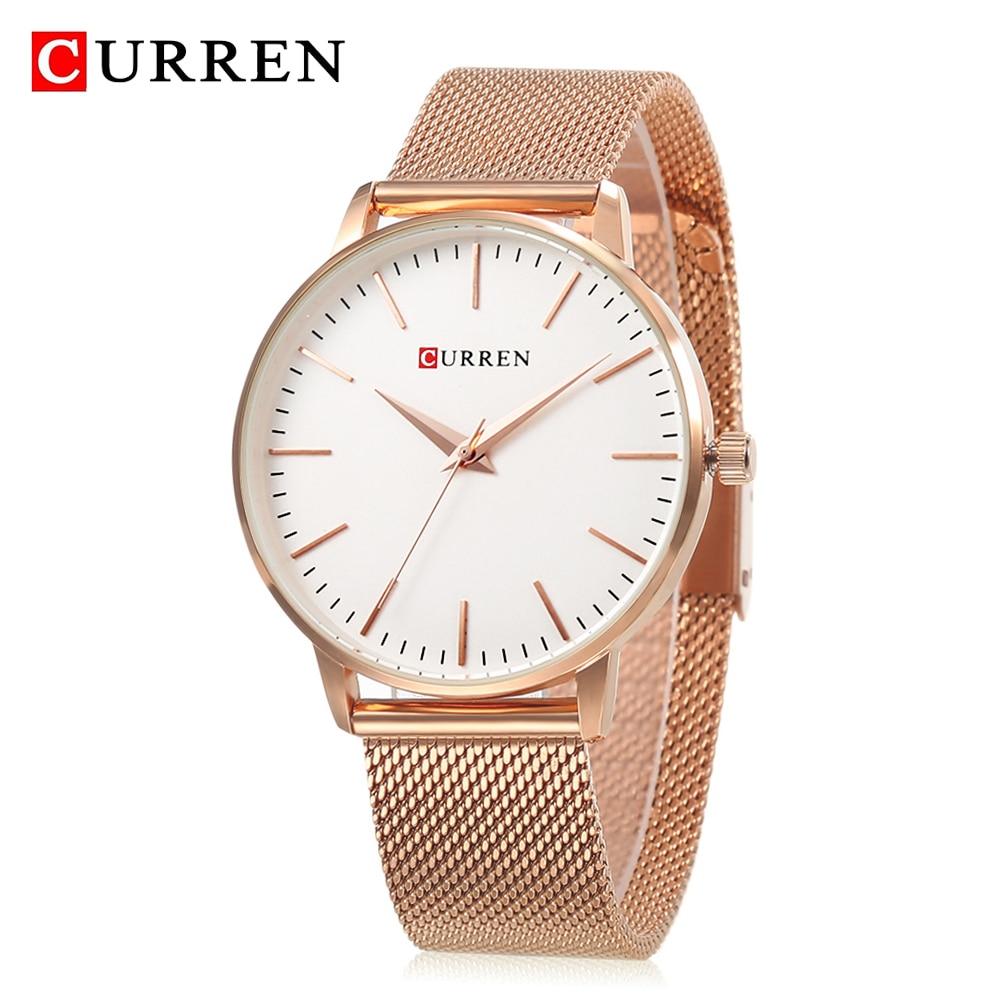 Relojes CURREN de la mejor marca de moda de oro rosa para mujer, relojes de acero inoxidable, reloj de lujo sencillo para mujer, reloj de cuarzo, reloj femenino