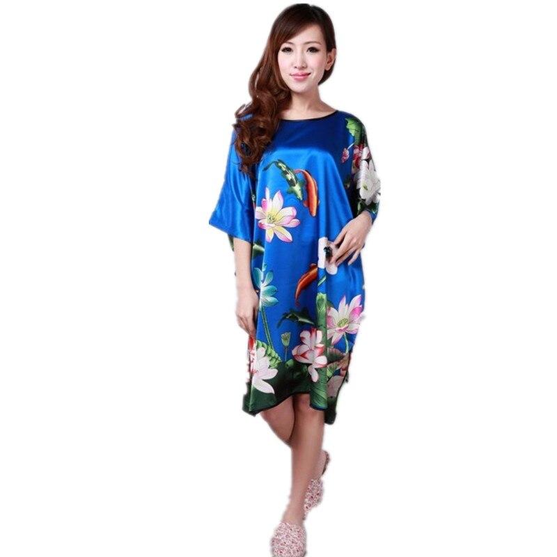 Moda azul senhoras robe pijamas de verão das mulheres chinesas rayon sleepwear kimono banho vestido de noite kaftan yukata um tamanho m04